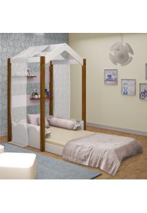 Cama Montessoriana Casa Solteiro Com Voal Branco Casah - Branco - Dafiti