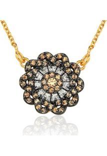 Colar Le Diamond Flor Marrom - Kanui
