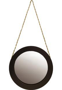 Espelho Redondo 50 Cm Crie Casa Preto