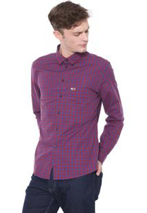 Camisa Tommy Jeans Reta Quadriculada Vermelha/Azul-Marinho
