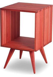 Mesa Lateral Dominoes Estrutura Vermelha 45Cm - 61468 - Sun House