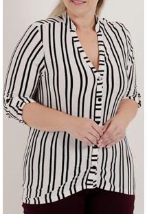 Camisa Manga ¾ Plus Size Feminina Autentique Branco