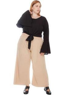 Calça Plus Size Pantacourt Maxi Feminina - Feminino-Nude+Bege
