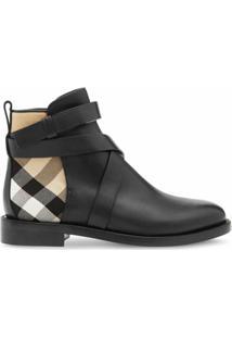Burberry Ankle Boot De Couro Xadrez - Preto