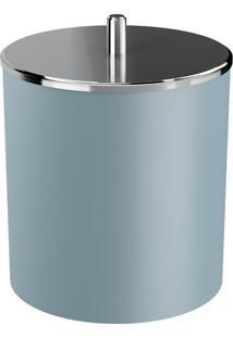 Lixeira Com Tampa- Inox & Azul Claro- 22,4X20X19,5Cmcoza