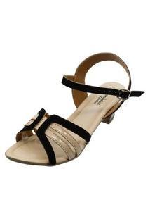 Sandália Romântica Calçados Num.Especial 40 Ao 44 Preto Com Marfim