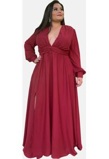 Vestido Longo Plus Size Marsala Com Fenda Lateral Tnm Collection Festa Formatura Casamento