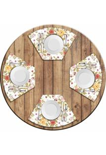 Jogo Americano Love Decor Para Mesa Redonda Wevans Flowers Kit Com 4 Pçs Love Decor