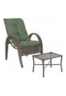 Jogo Cadeira 1Un E Mesa P/ Jardim Edicula Varanda Descanso Trama Napoli Plus Pedra Ferro A30