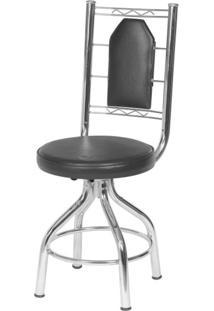Cadeira Assento Estofado Móveis Brastubo Cromado/Preto