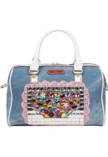 Bolsa Nicole Lee Denim Stones Boston Bege
