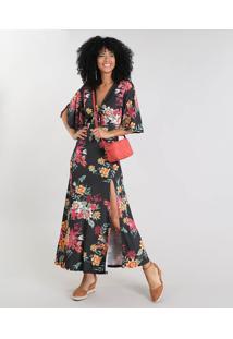 6f294ee38 R$ 139,99. CEA Vestido Feminino Longo Estampado Floral Com Amarração Manga  ...