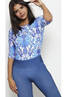 Body Floral Decote Posterior- Azul & Brancodellamare