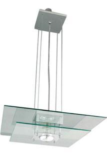 Pendente De Alumínio Spacial Quadrado Vidro 1 Lâmpada 100W Pantoja