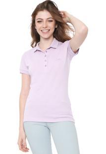Camisa Polo Colcci Reta Logo Lilás