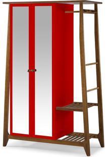 Armário Multiuso 2 Portas Stoka 982 Nogal/Vermelho - Maxima