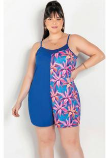 Macaquinho Floral E Azul Com Recorte Plus Size