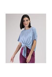 Blusa De Suede Feminina Cropped Ampla Com Nó Manga Curta Decote Redondo Azul Claro