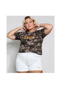 Camiseta Feminina Plus Size Manga Curta Camuflada Mickey Verde Militar