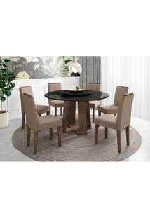 Conjunto De Mesa De Jantar Com Tampo Giratório Isabela E 6 Cadeiras Amanda Veludo Preto E Marrom