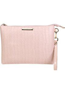 Bolsa Loucos & Santos Clutch Croco Bag Soft Feminina - Feminino-Rosa Claro