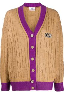 Gcds Contrast Ribbed Trim Cardigan - Neutro