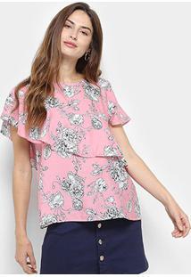 89c2f8cf7 ... Blusa Estampada Floral Acrobata Com Babado Feminina - Feminino-Rosa
