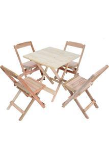 Conjunto 4 Cadeiras E 1 Mesa Dobrável 60 X 60 - Sem Pintura