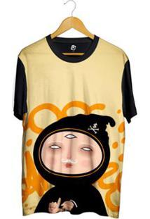 Camiseta Bsc Desenho Ninja La Masculina - Masculino-Amarelo+Preto