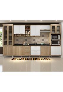 Cozinha Completa Sicília 17 Portas Com Tampo E Vidro Branco/Argila - Multimóveis