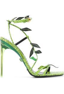Versace Sandália Antheia Salto Agulha Com Aplicação De Folha - Verde