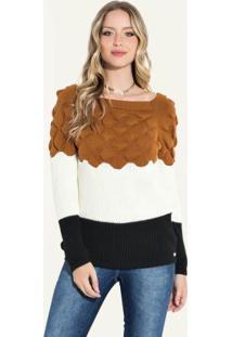 Suéter Em Tricô Caramelo Off White Preto