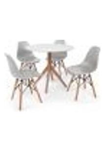 Conjunto Mesa De Jantar Maitê 80Cm Branca Com 4 Cadeiras Charles Eames - Cinza