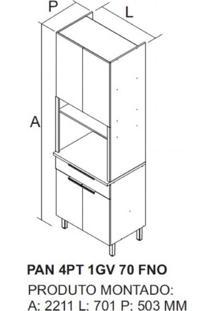 Cozinha Completa 5 Peças 11 Portas, 2 De Vidro E Paneleiro Itamaxi Itatiaia Preto/Amadeirado