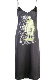 Proenza Schouler White Label Vestido Reto Estampado - Preto