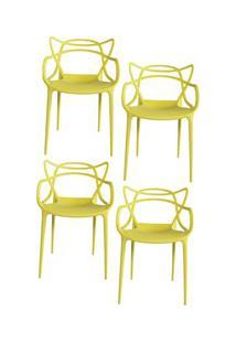 Kit 4 Cadeiras Decorativas Para Sala De Jantar Amsterdam F01 Amarela -