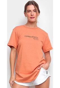 Camiseta Colcci Linho Consciência Feminina - Feminino-Laranja