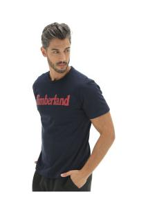 Camiseta Timberland Kennebec Rvr Linear Logo Tee - Masculina - Azul Escuro