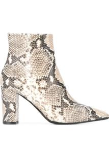 The Seller Ankle Boot Com Estampa De Cobra - Marrom