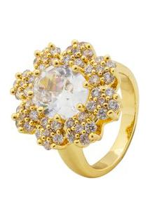 Anel Zircônia Flor Dourado An3482