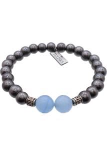 Pulseira Tuliska Pedras Hematita E Jade Azul