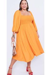 Vestido Almaria Plus Size Tal Qual Midi Creponado