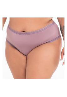 Calcinha Click Chique Biquíni Plus Size Básica Rendinha Roxo