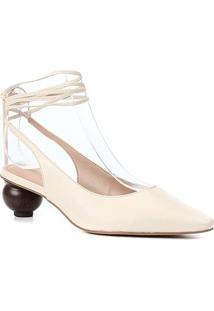Scarpin Couro Shoestock Slingback Bico Fino Salto Baixo Redondo Feminino - Feminino-Off White