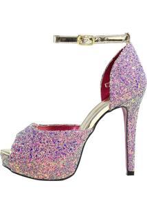 Sandália Salto Alto Week Shoes Meia Pata Glitter Lilás - Kanui