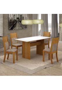 Conjunto De Mesa De Jantar Florença Ii Com 4 Cadeiras Havaí Suede Branco E Bege