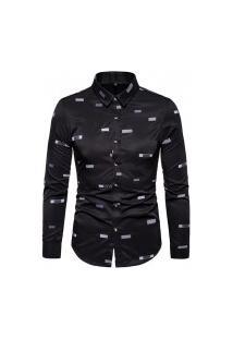 Camisa Masculina Social Slim California - Preta