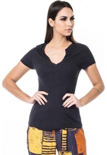 Camiseta Moikana Rib Mangas Curtas Feminina - Feminino-Preto