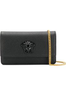 Versace Bolsa Clutch 'Medusa Head' De Couro - Preto