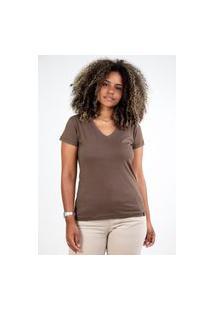 Camiseta Meio Swag Básica Gola V Marrom